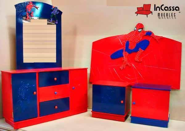 Recámara Infantil Mod. SPIDERMAN. --Incluye: 1 cabecera, 2 buroes ...