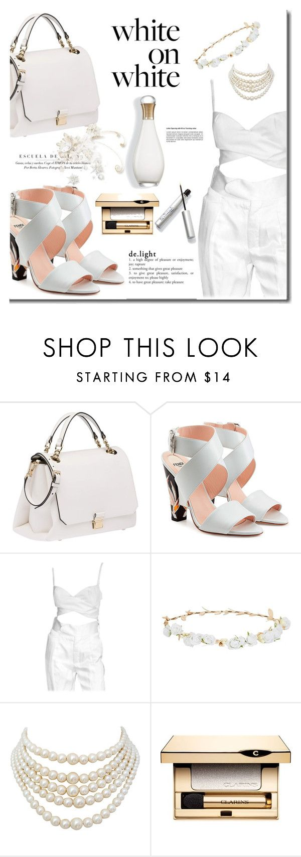 """""""White on White"""" by mslewis6 ❤ liked on Polyvore featuring Miu Miu, Fendi, Robert Rose, Christian Dior and Clarins"""