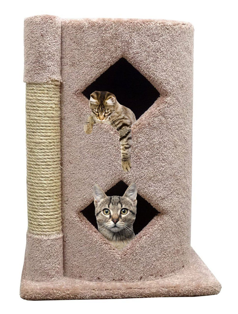 Carpet Cat Condo 2 Story Modern Kitty Condo With Scratching Post Beige Carpet Click On The Image For Additional Details Th Cat House Cat Condo Super Cat