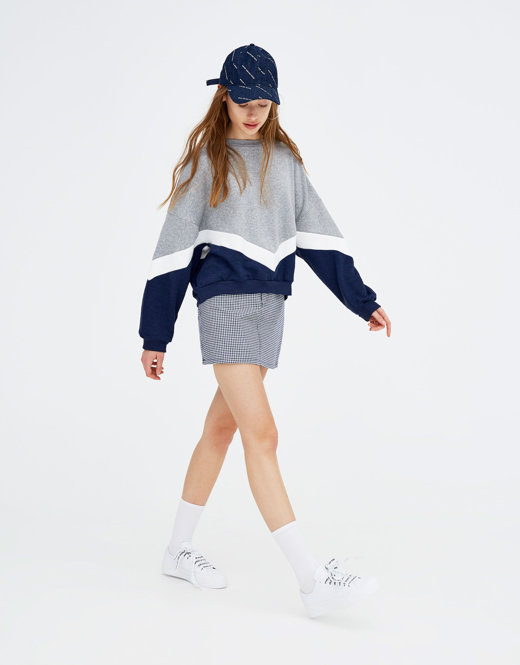 Pull Bear Woman New Blue Sweatshirt With V Shaped Panels Ink Blue 05593373 V2018 Two Piece Outfits Pants Cute Casual Outfits Hijabi Fashion Casual