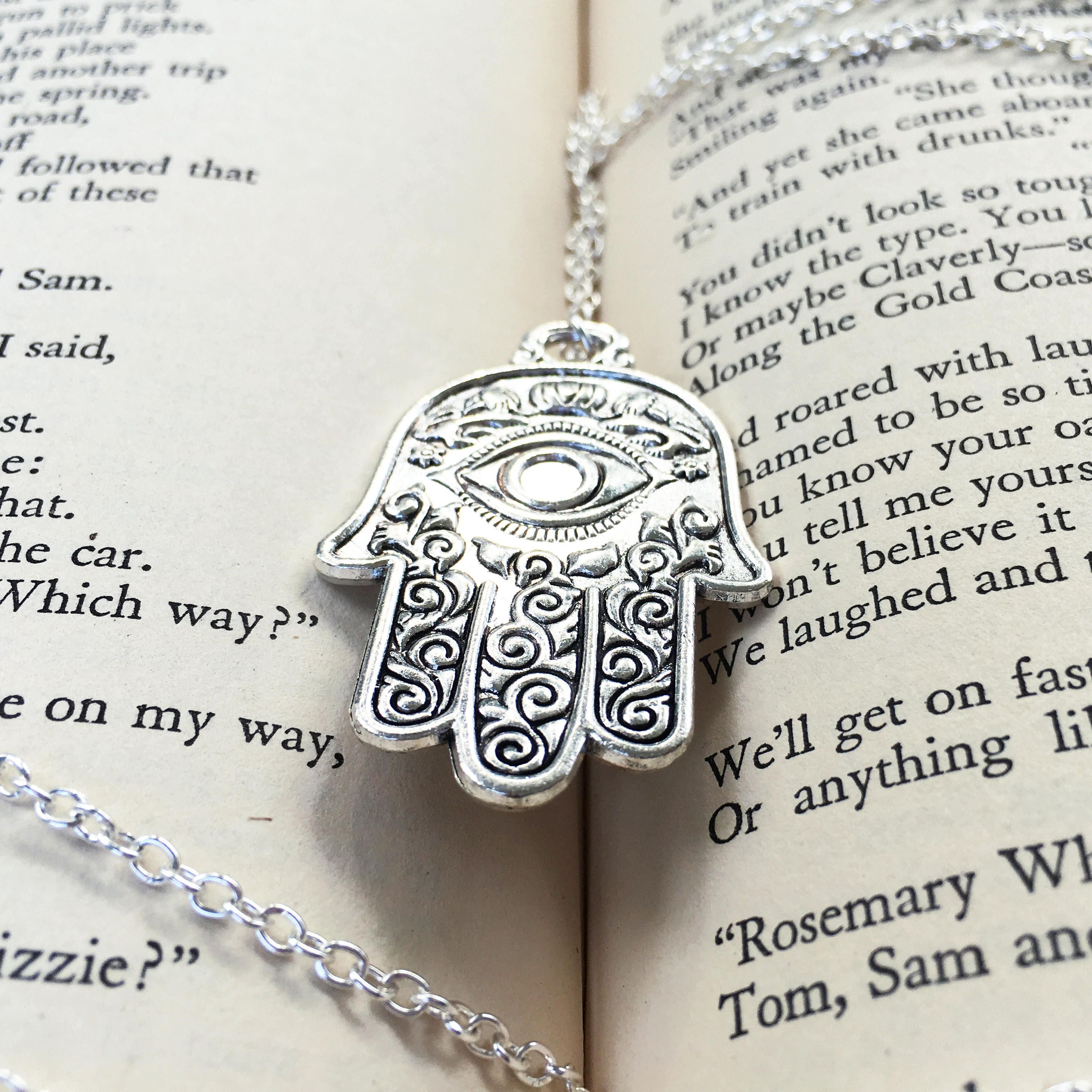 Silver hamsa hand necklace meditation necklace large hamsa silver hamsa hand necklace meditation necklace large hamsa necklace yoga gifts silver mozeypictures Image collections