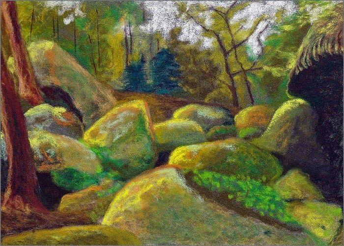 MAHO: PEINTURES et art postal: Pastels secs. Titre: LE CHAOS, format 11x14 cm, pastels secs sur pastelcard -2015-