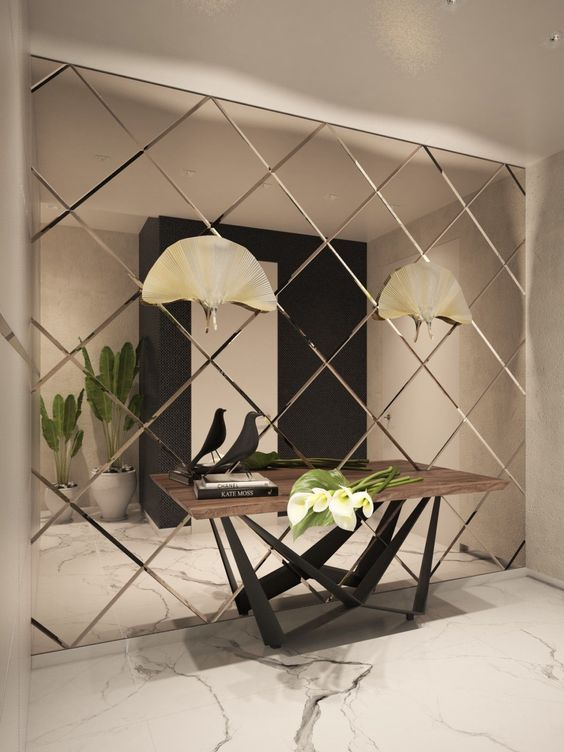 bevelled diamond mirror wall in foyer interior wall on ideas for decorating entryway contemporary wall mirrors id=19333