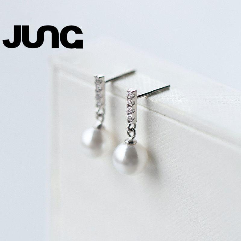 AAA Zircon 925 Sterling Silver Jewelry Pearl Sweet Temperament Fashion Beautiful Popular Best Friend Gift Stud earrings Women