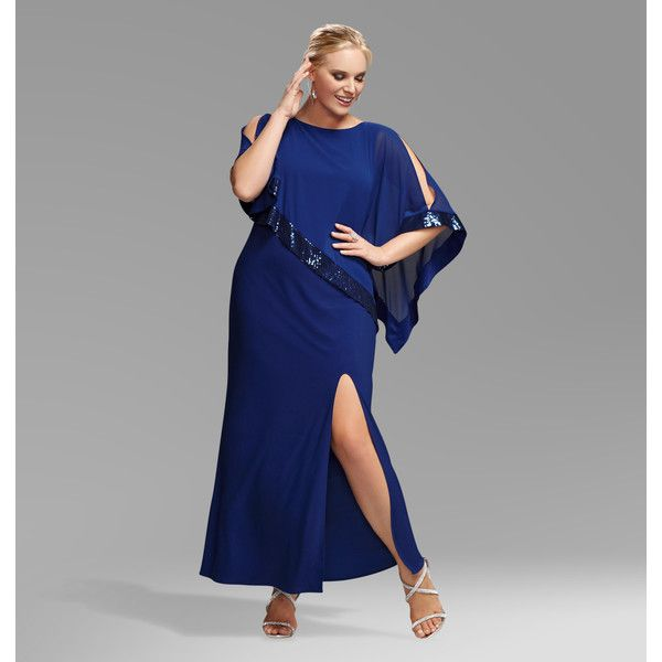 Avenue Plus Size Royal Sequin Cold Shoulder Capelette Gown ($55) ❤ liked on Polyvore featuring dresses, gowns, plus size, royal blue, chiffon evening dresses, royal blue evening gown, evening maxi dresses, evening gowns and long evening gowns