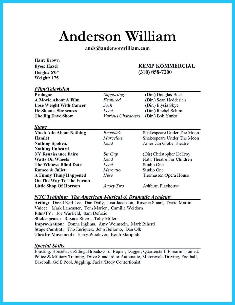 Nice Outstanding Acting Resume Sample To Get Job Soon
