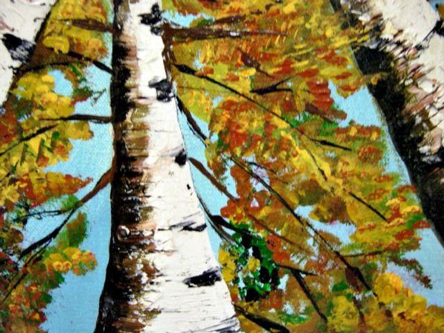 FALL BIRCH TREE PAINTING CLOSE UP