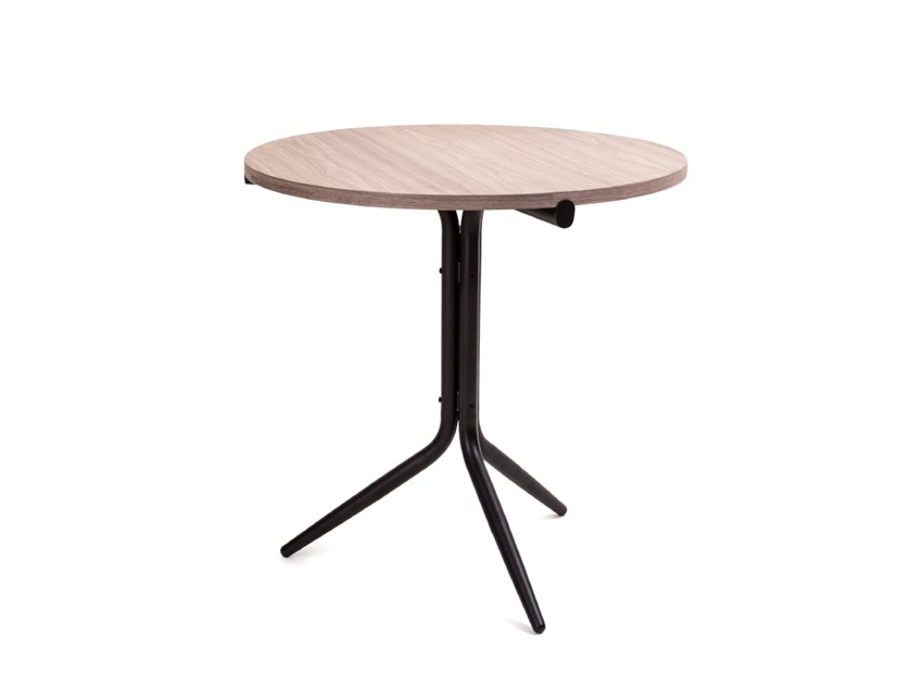 Download The Catalogue And Request Prices Of Tripod Low Cafe Table By Stellar Works Round Steel And Wood Table Design Wood Table Wood Table Design Cafe Tables