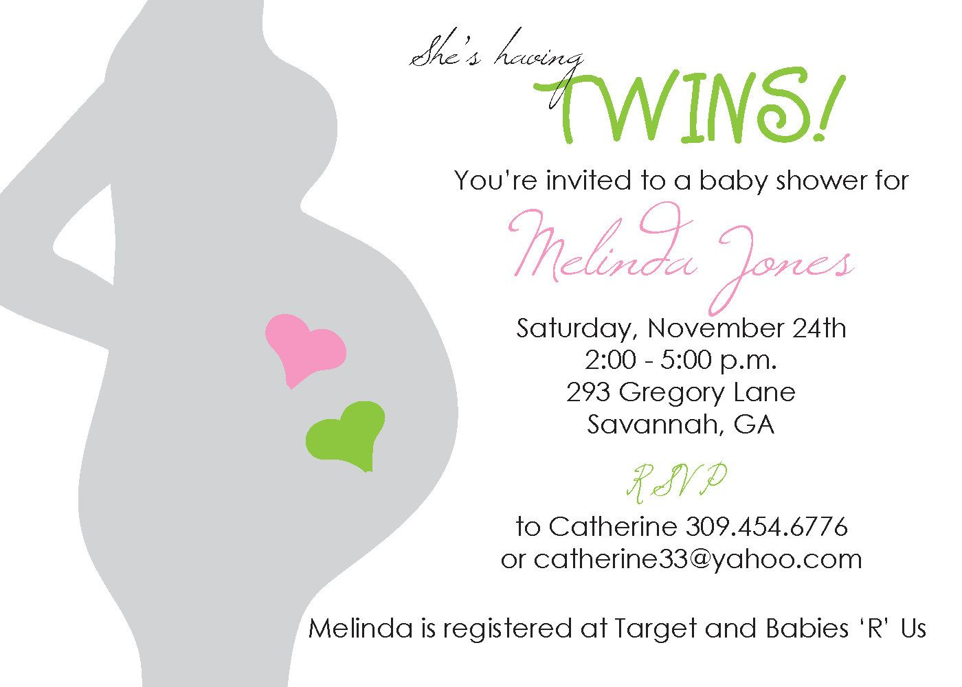 Twins baby shower invitation   Shower invitations, Twins and Babies