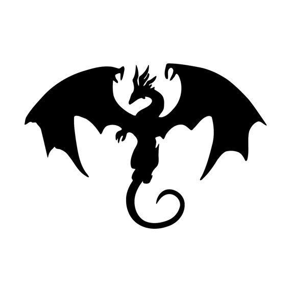 Skyrim Inspired Dragon Vinyl Decal Macbook Sticker Fantasy Etsy Dragon Silhouette Silhouette Clip Art Animal Silhouette