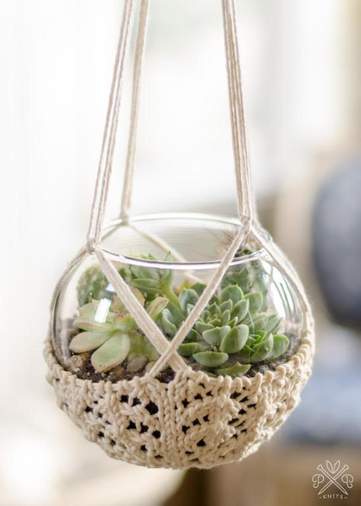 Knitted Terrarium Hanger   Craftsy