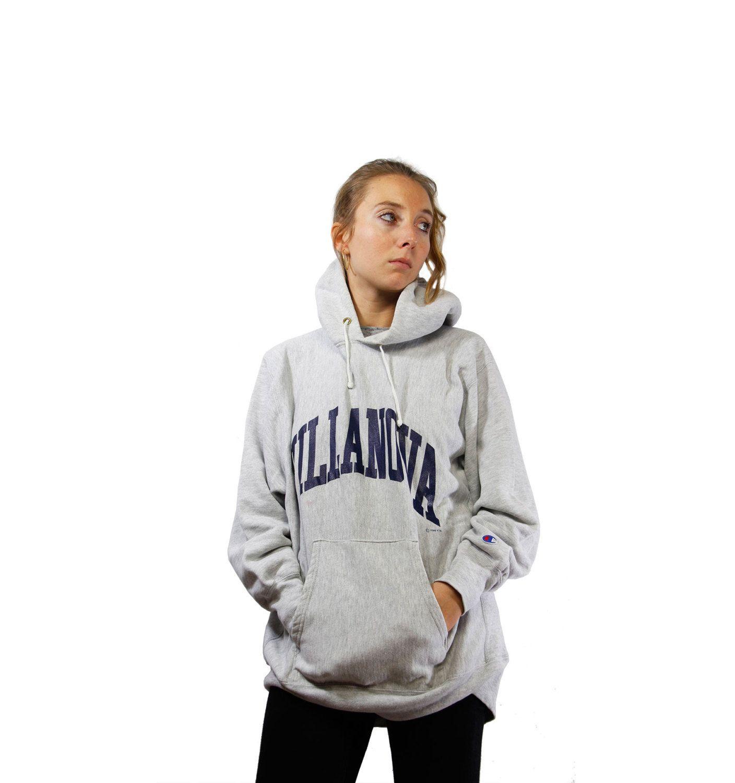 CHAMPION Hoodie / Vintage College Sweatshirt / Champion Sweatshirt / Sweat Jumper / 90s / Grey / Medium Size / Sportswear / YUMMY Vintage