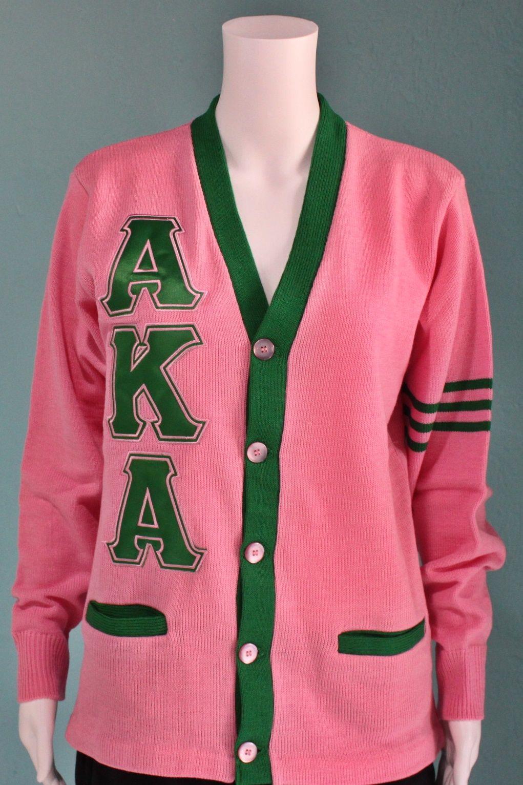 Alpha Kappa Alpha Varsity Cardigan AKA Satin Stitch  c23b2a204
