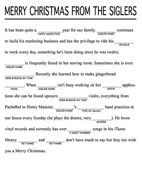 Christmas Mad-Libs; how clever would this be for a Christmas letter