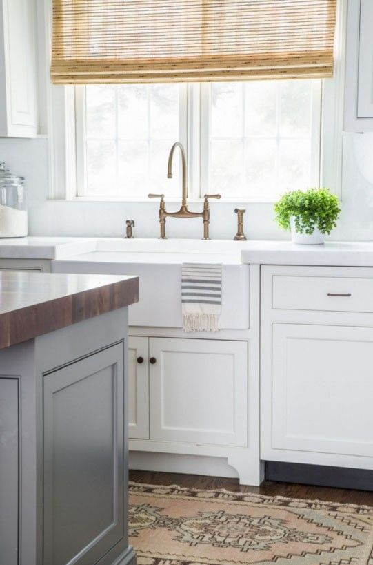 Kitchen With White Cabinets, Gray Island, Blush Pink Runner Rug, Bamboo  Roman Shades