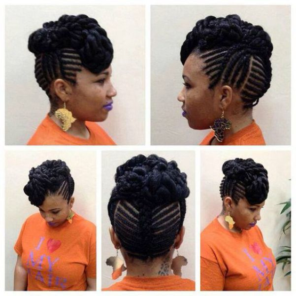 Latest Cornrow Braids Updo Hairstyles For Black Women 2016 Style In Hair Natural Hair Styles Natural Hair Updo Natural Braids