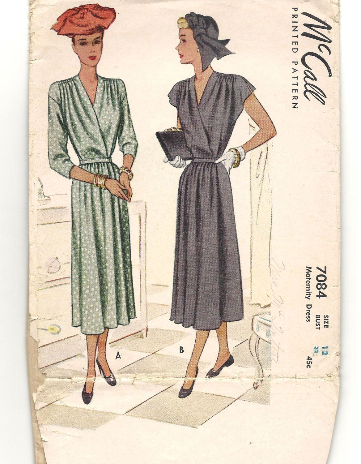 1940s dress vintage sewing pattern wrap front with tie belt v dress vintage sewing pattern wrap front with tie belt v neckline maternity dress misses size 12 bust 32 mccall printed pattern ombrellifo Images