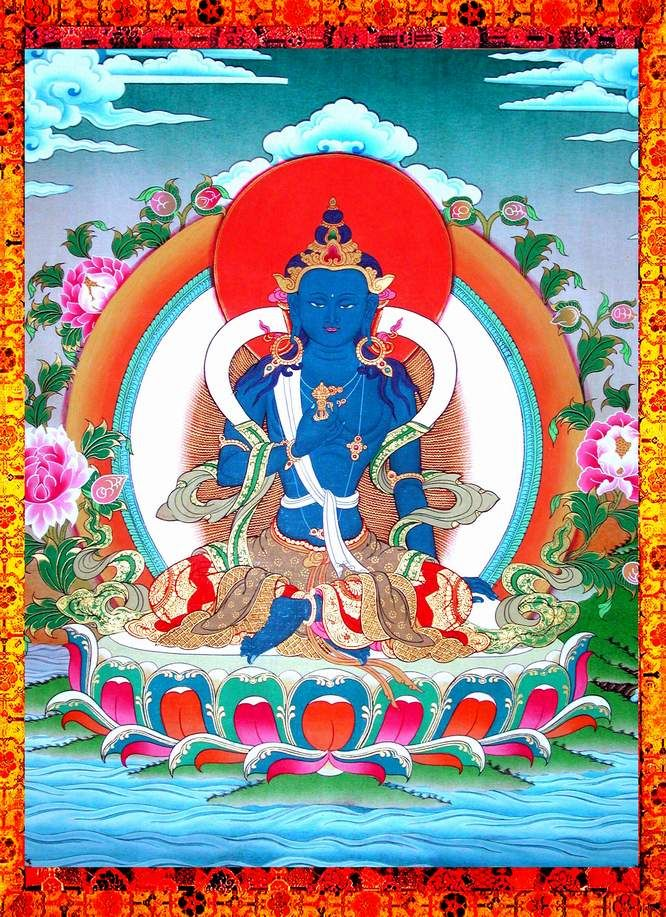 """Vajrapāṇi 金剛手菩薩 (Sanskrit, """"Vajra in [his] hand"""") is one of the earliest-appearing bodhisattvas in Mahayana Buddhism. He is the protector and guide of Gautama Buddha and rose to symbolize the Buddha's power. In Tibetan Buddhism and in Pure Land Buddhism, he is known as Mahasthamaprapta (大勢至菩薩) and forms a triad with Amitābha and Avalokiteśvara."""