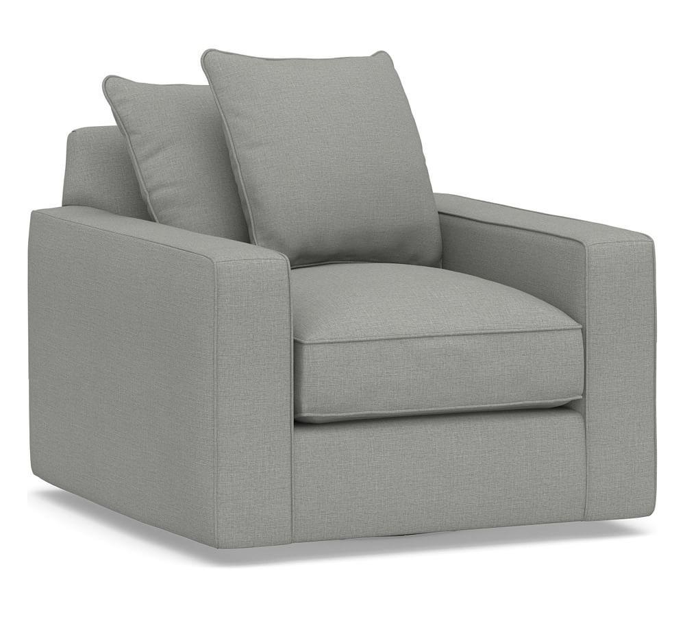 Pb Comfort Square Arm Upholstered Swivel Armchair Swivel