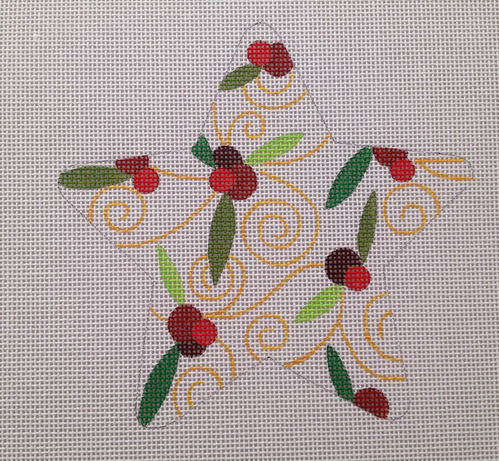 Holly Berry Star Hand Painted Needlepoint Canvas 18ct BY Raymond Crawford | eBay
