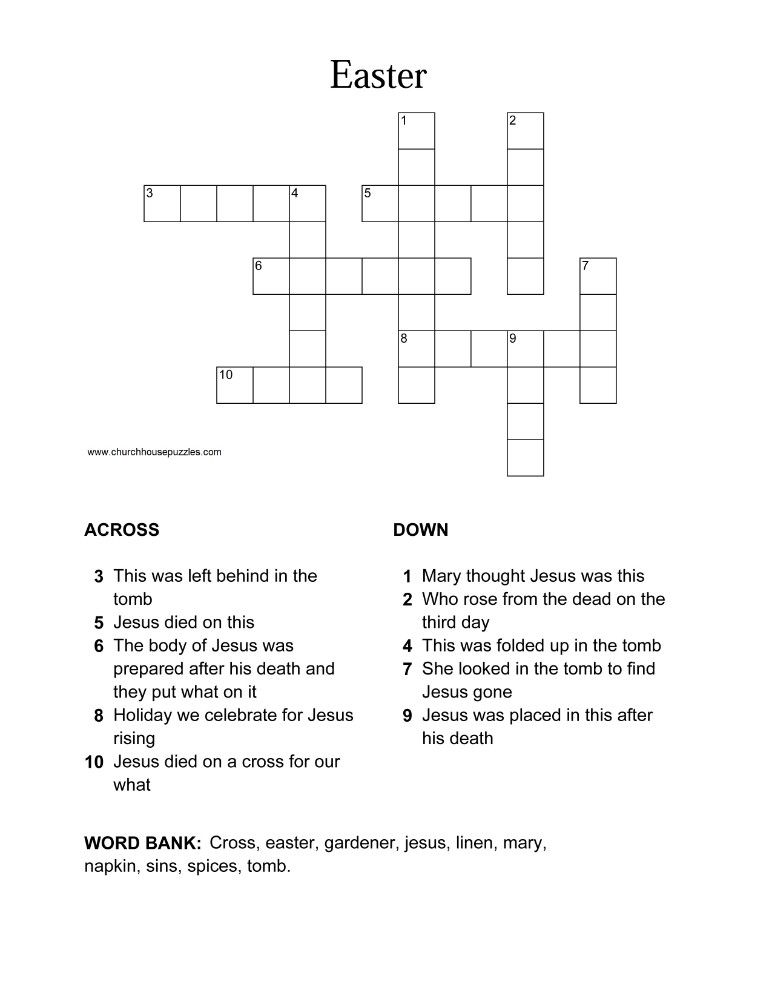Easter Crossword For Sunday School Holiday Projects And Ideas