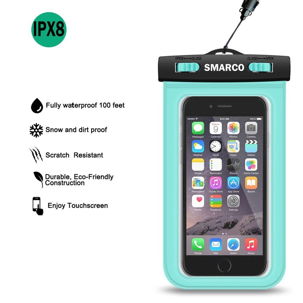 [IPX8 Certified]SMARCO Waterproof Bag, Cell Phone Waterproof Pouch, Waterproof Dry Bag Case - Green Case