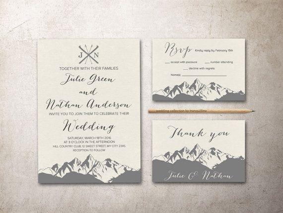Mountain Wedding Invitation Printable Winter Wedding Etsy Mountain Wedding Invitations Winter Wedding Invitations Floral Wedding Invitation Suite