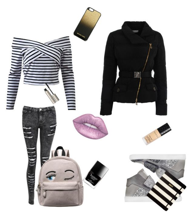 """""""😊"""" by p0livore ❤ liked on Polyvore featuring Versace, MM6 Maison Margiela, Lime Crime, Gucci, Ilia, Kate Spade, MICHAEL Michael Kors and Butter London"""