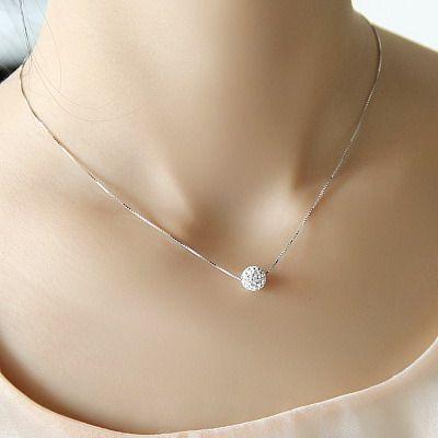 12 90 S925 Pure Silver Necklace Female Short Design Crystal Shambhala Ball Chain Elegant Brief Anti Necklace Chain Types Short Silver Necklace Simple Necklace