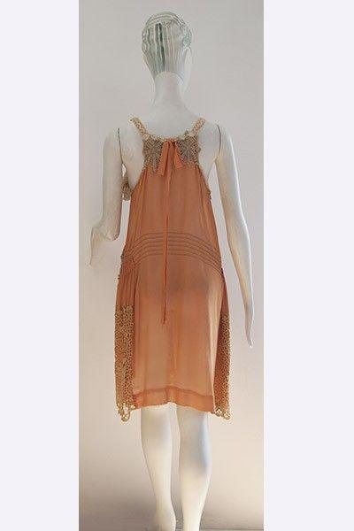 1920s Silk & Lace Flapper's Dress Back