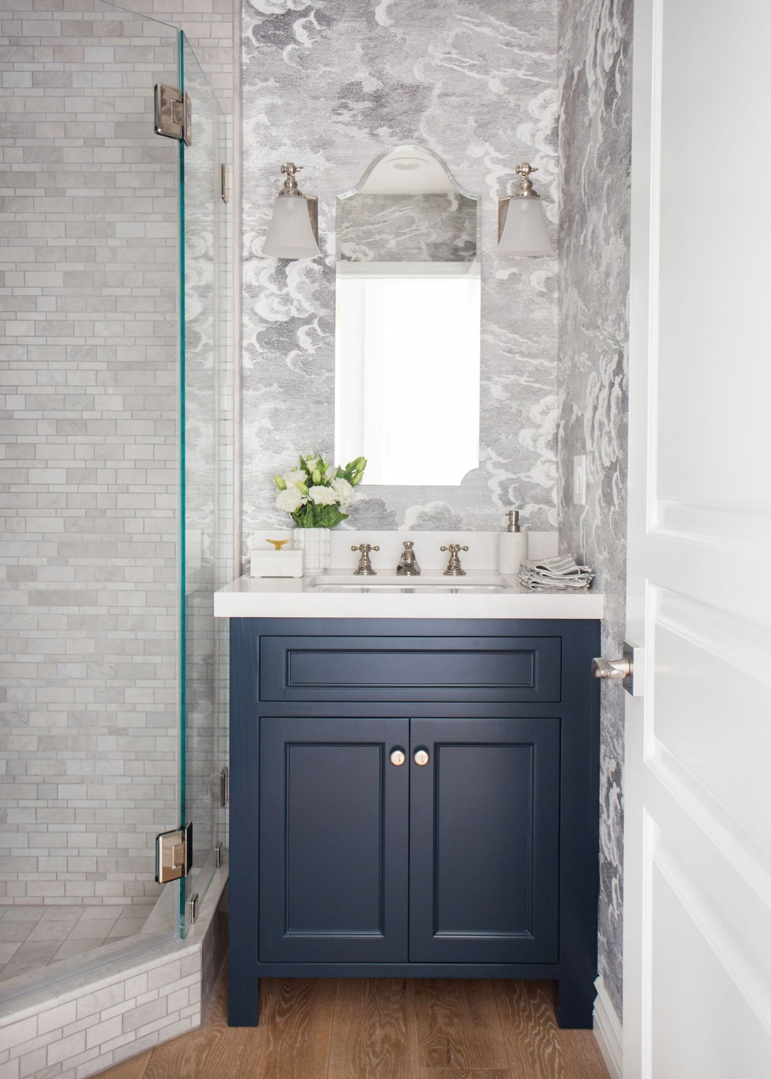 Before After A 1970s Hollywood Hills Home Gets A Classic Renovation Blue Bathroom Vanity Nautical Bathroom Decor Blue Powder Rooms