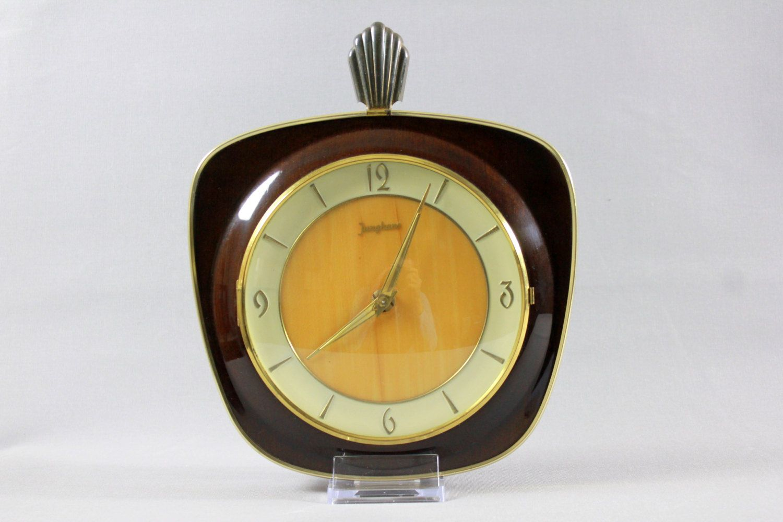 Vintage Art Deco Junghans Wall Clock Wood West Germany 1940s 1930s Wood Wall Clock Vintage Art Deco Vintage Wall Clock