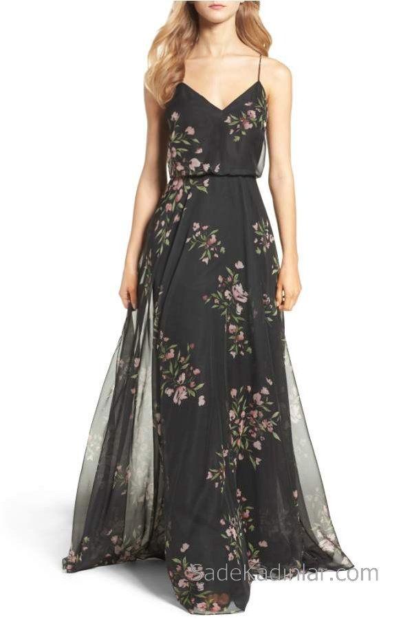 2020 Yazlik Cicekli Sifon Elbise Modelleri Siyah Uzun Askili Cicek Desenli Maksi Elbiseler Sifon Elbise Elbise
