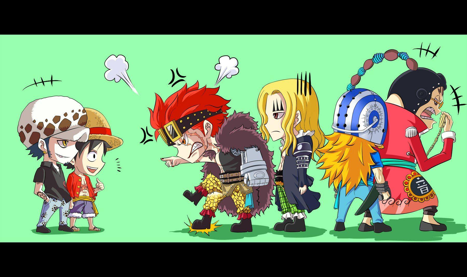 One Piece, Luffy, Law, Kid, Hawkins, Killer, Apoo