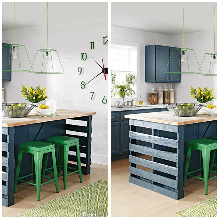 Ilots Cuisine Palette Decoration Naturelle Ilot Cuisine A Faire Soi Meme Building A Kitchen Pallet Kitchen Island Pallet Kitchen