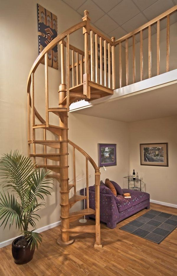 Beautiful oak staircase designs space saving spiral for Square spiral staircase plans