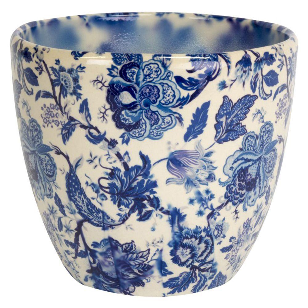 Monza Planter Vintage Blue Ceramic Plant Pots Small House Plants Vintage Floral Print