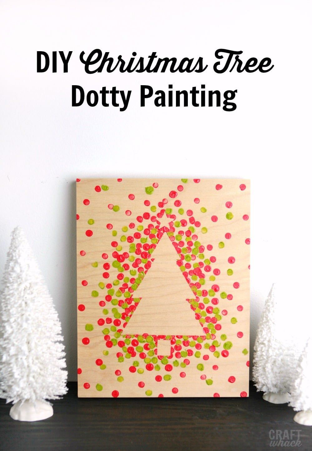Easy and Adorable Dotty Christmas Tree Paintings · Craftwhack #christmascardskids