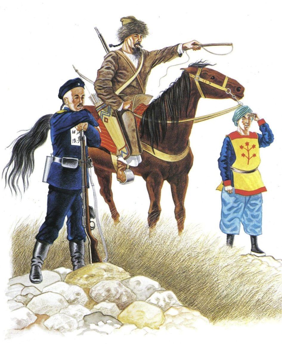 L To R Regular Infantry Irregular Cavalry Artilleryman Army