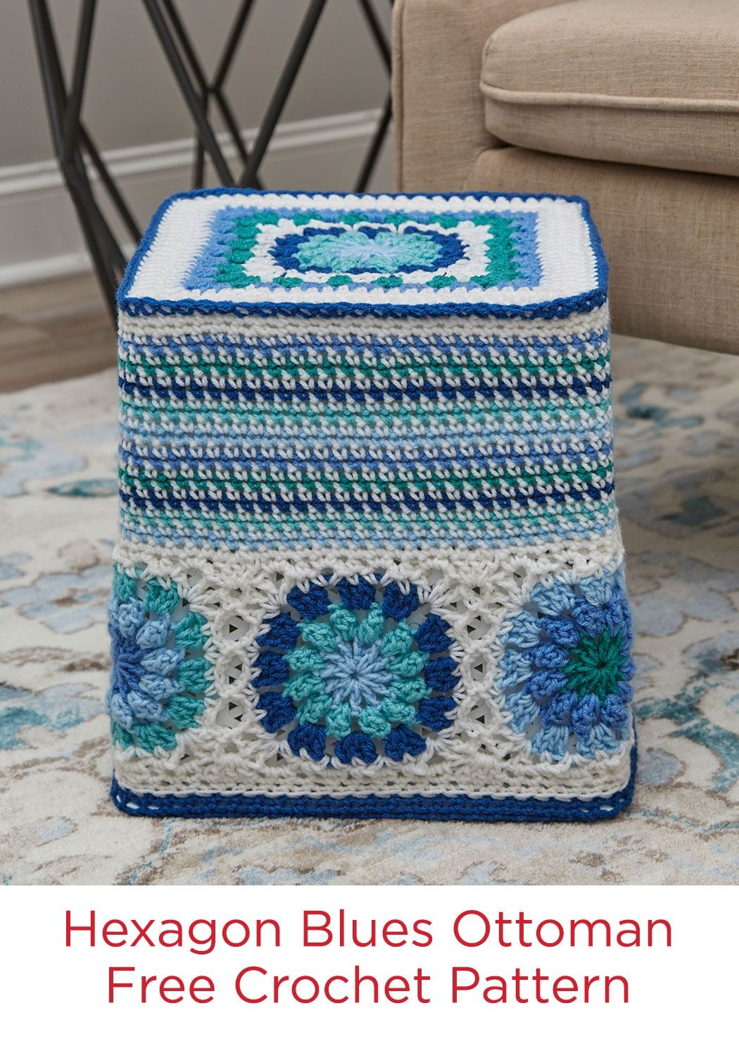 Hexagon Blues Ottoman Free Crochet Pattern In Red Heart Super Saver