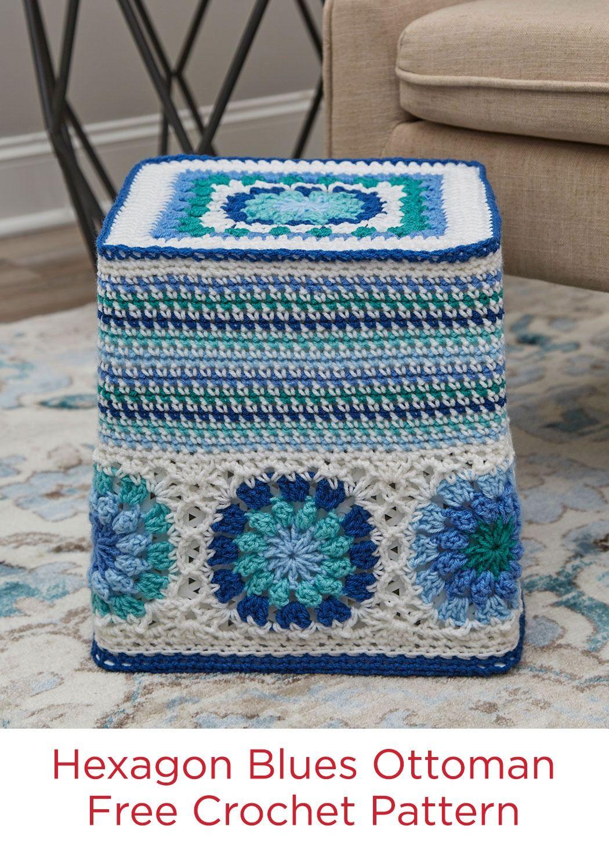 Hexagon Blues Ottoman Free Crochet Pattern in Red Heart Super Saver ...