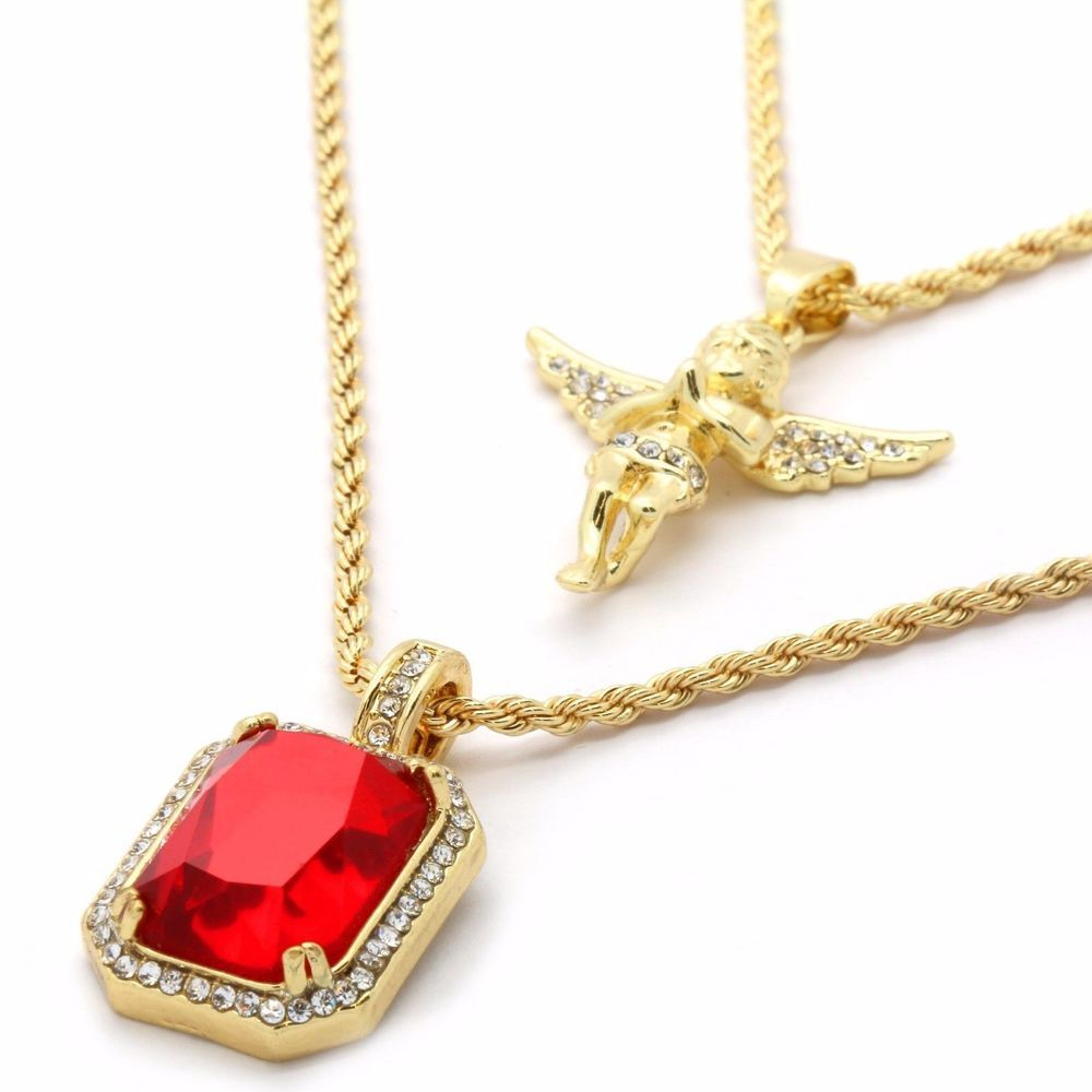 Men 14k Gold Plated High Fashion 2 pcs Simulated Ruby /& Angel 2mm 30 /& 24 Rope