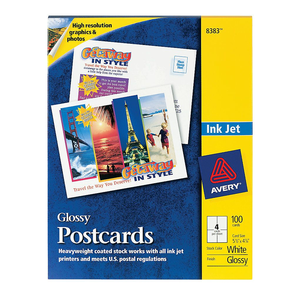 "Avery® Inkjet Post Cards, 4 1/4"" X 5 1/2"", Glossy White"