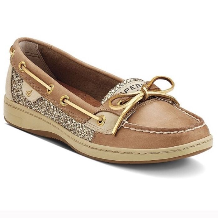 Sperry Shoes | Sperry Gold Glitter Angelfish Boat Shoes | Color: Gold/Tan | Size: 7 Sperry Shoes | Sperry Gold Glitter Angelfish Boat Shoes | Color: Gold/Tan | Size: 7