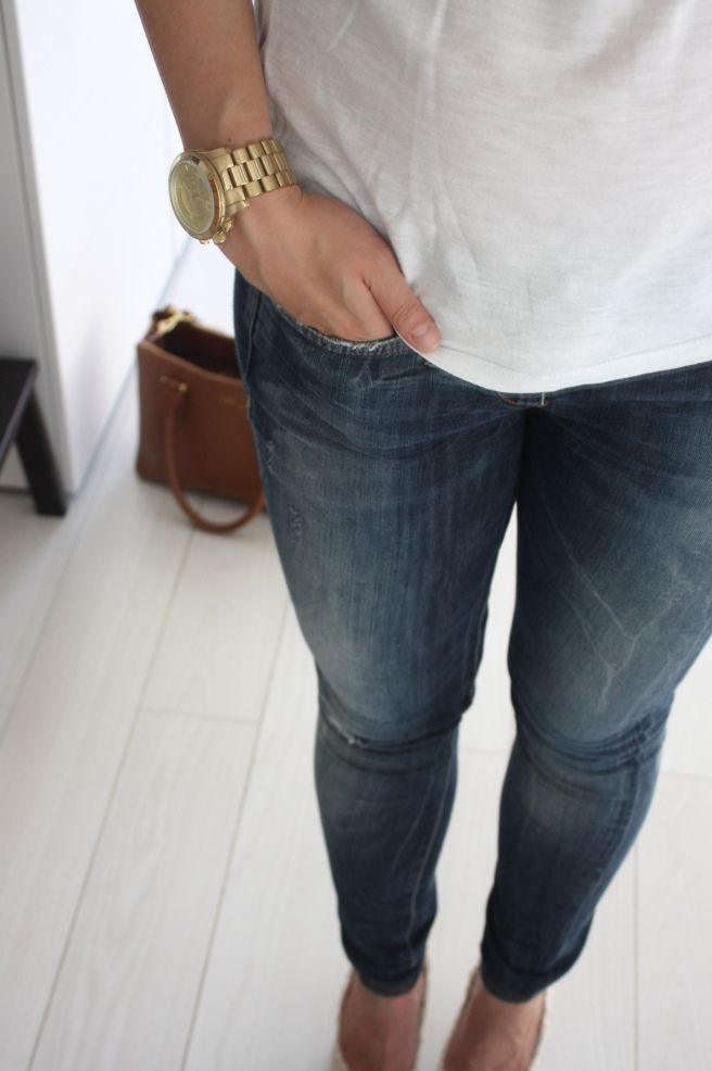 Homevialaura | basics | Blue jeans white shirt | white tee | Michael Kors watch | Ralph by Ralph Lauren handbag