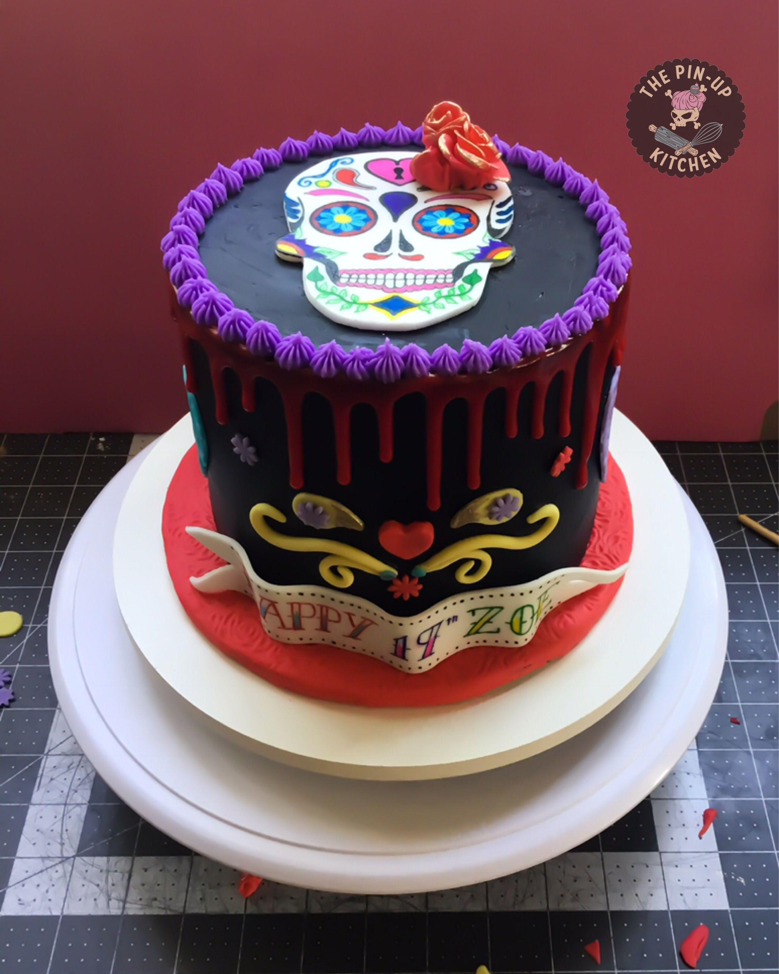 Dia De Los Muertos Sugar Skull Black Buttercream Cake With