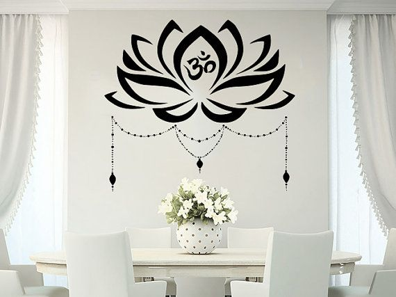 Lotus Flor Pared Calcomania Boho Om Simbolo Yoga Namaste Decoracion De Arte De La Pared Decoracion Con Mandalas Decoracion Pared Pintura