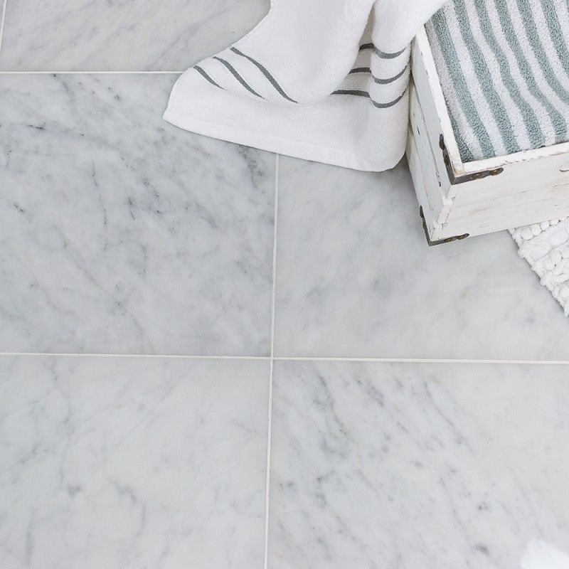 Carrara 12x12 L Polished Marble Tile Tilebar Com Polished Marble Tiles Carrara Marble Bathroom Floor Calcutta Marble Tile
