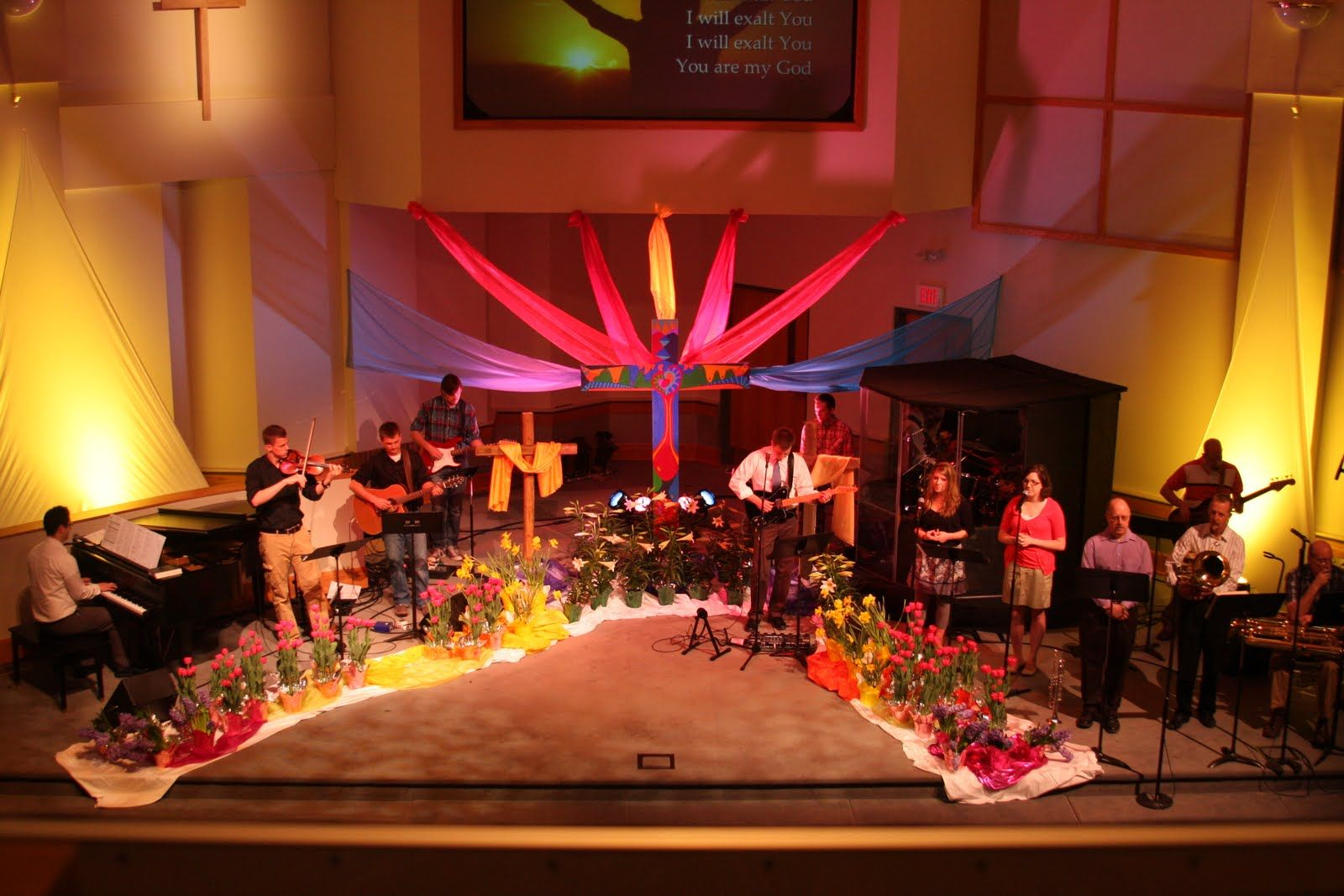 Easter Decorating Ideas For Church christmas stage set ideas | church stage decorating ideas plastic
