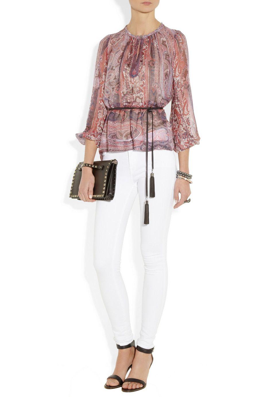 Isabel Marant|Shayne belted printed silk-gauze top|NET-A-PORTER.COM